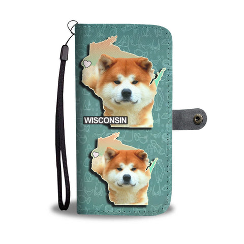 Akita Dog Print Wallet Case-Free Shipping-WI State