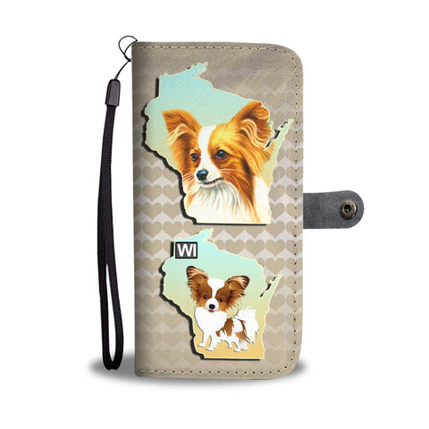 Papillon Dog Art Print Wallet Case-Free Shipping-WI State