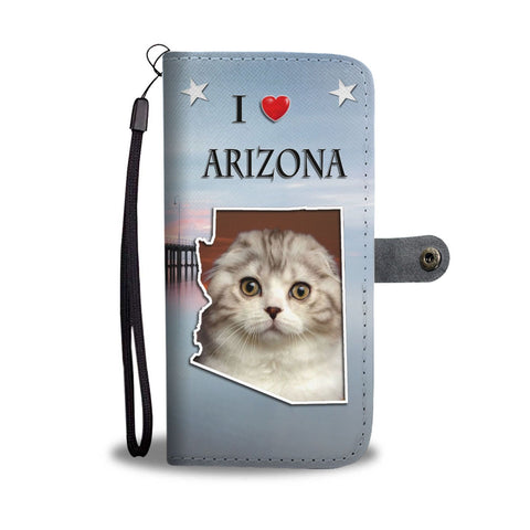 Cute Scottish Fold Cat Print Wallet Case-Free Shipping-AZ State