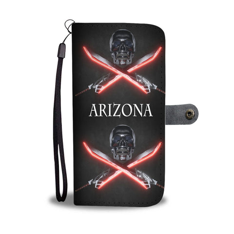 Skull And Swords Print Wallet Case-Free Shipping-AZ State
