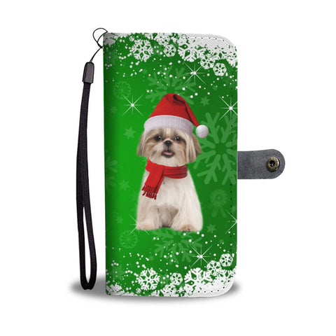 Shih Tzu Dog Green Christmas Print Wallet Case-Free Shipping