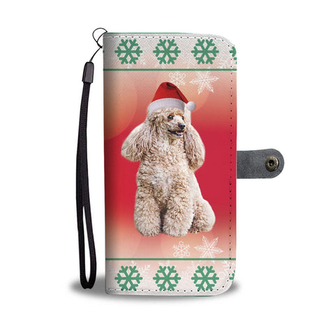 Cute Poodle Dog Christmas Print Wallet Case-Free Shipping