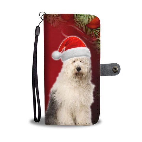 Old English Sheepdog On Christmas Print Wallet Case-Free Shipping