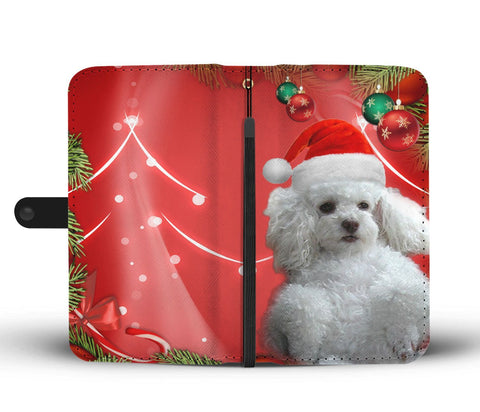Cute Poodle On Christmas Print Wallet Case-Free Shipping