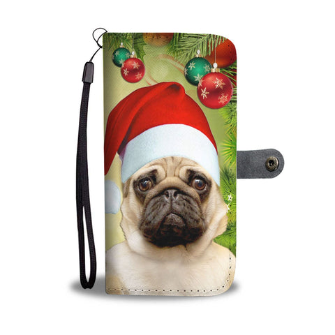 Lovely Pug On Christmas Print Wallet Case-Free Shipping