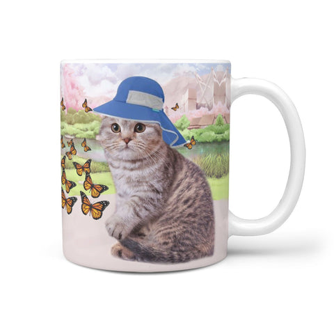 Cute Scottish Fold Cat Print 360 White Mug