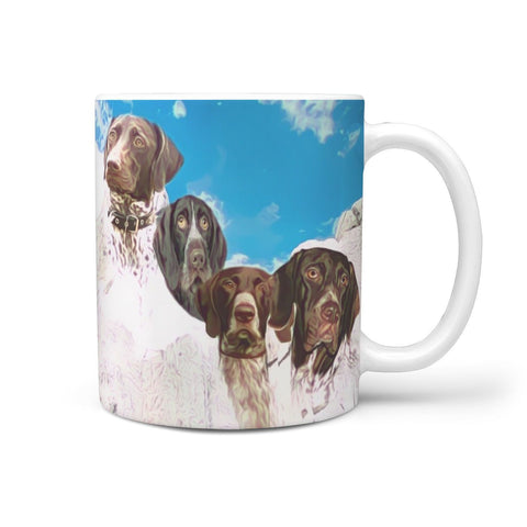 German Shorthaired Pointer Mount Rushmore Print 360 White Mug