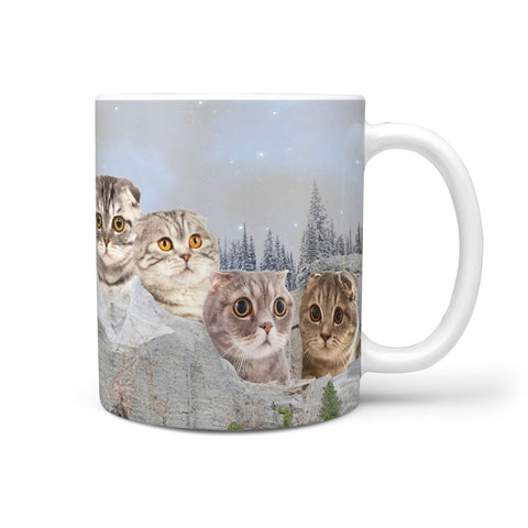Scottish Fold Cat Mount Rushmore Print 360 Mug