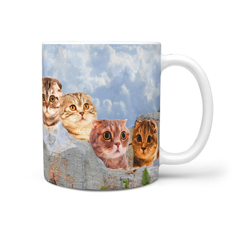Cute Scottish Fold Cat Mount Rushmore Print 360 Mug
