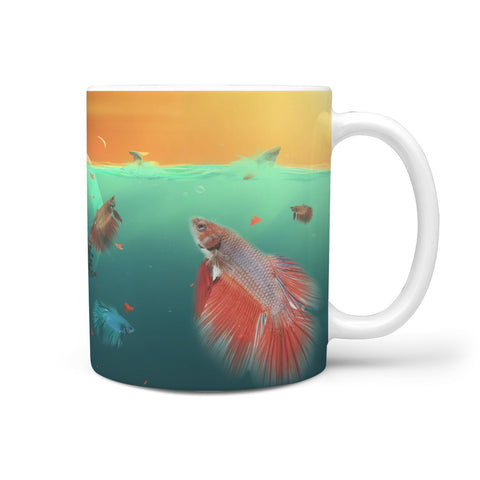 Siamese fighting Fish (Betta Fish) Print 360 White Mug