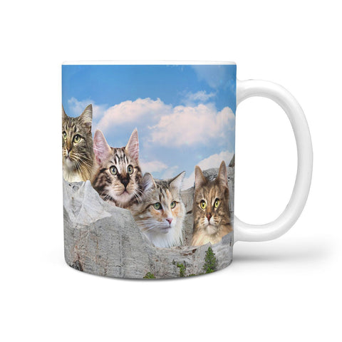 Lovely Norwegian Forest Cat On Mount Rushmore Print 360 Mug