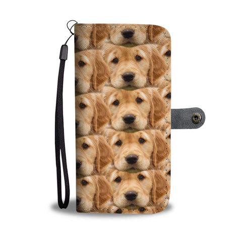 Golden Retriever In Lots Print Wallet Case-Free Shipping