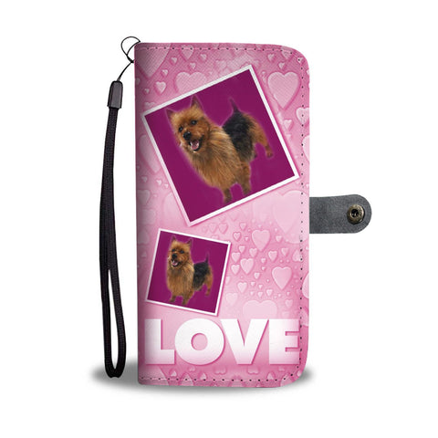 Australian Terrier Dog with Love Print Wallet Case-Free Shipping