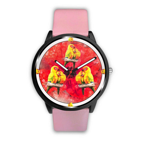 Sun Conure Parrot On Red Print Wrist watch - Free Shipping