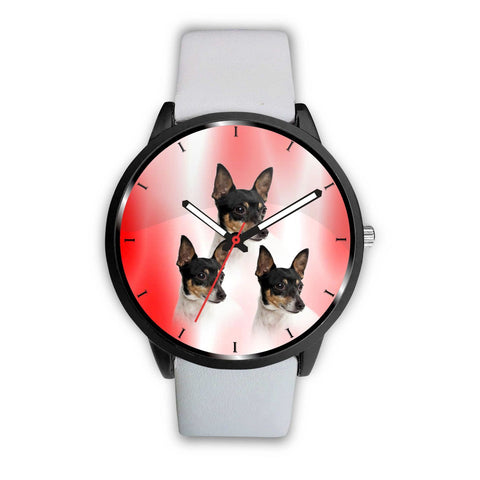 Toy Fox Terrier Print On Red Wrist Watch-Free Shipping