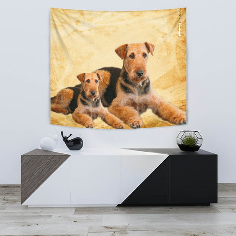 Airedale Terrier Dog Print Tapestry-Free Shipping
