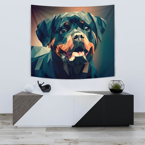 Rottweiler Dog Vector Art Print Tapestry-Free Shipping