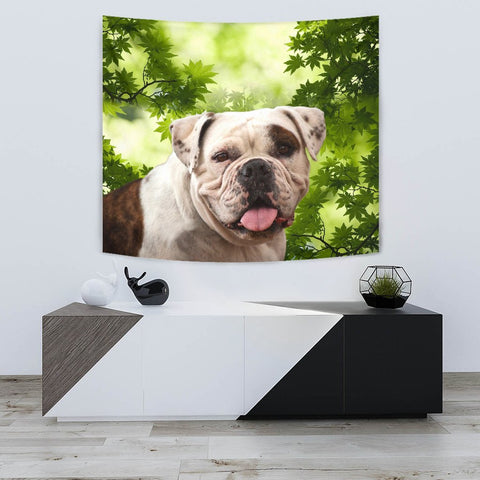 American Bulldog On Green Print Tapestry-Free Shipping