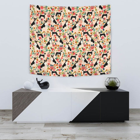 Basenji Dog Floral Print Tapestry-Free Shipping