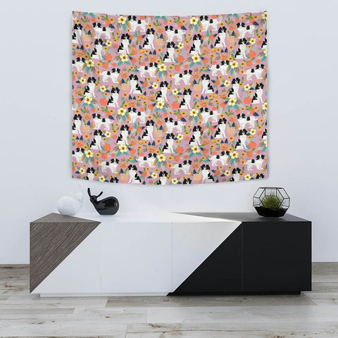 Japanese Chin Dog Floral Print Limited Edition Tapestry-Free Shipping