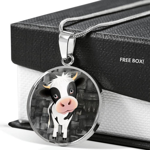 Cow Print Circle Pendant Luxury Necklace-Free Shipping