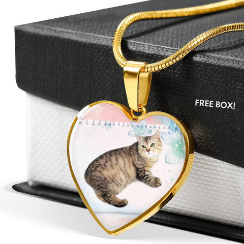 Manx Cat Print Heart Pendant Luxury Necklace-Free Shipping