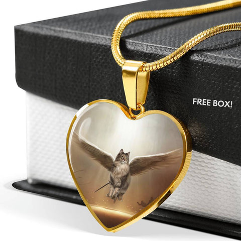 Norwegian Forest Cat Print Heart Pendant Luxury Necklace-Free Shipping
