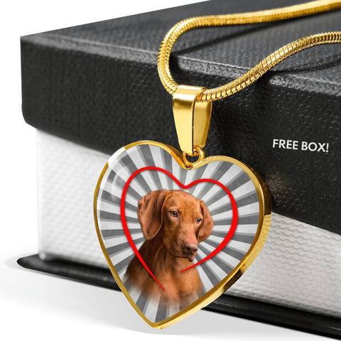 Lovely Vizsla Dog Print Heart Charm Necklace-Free Shipping