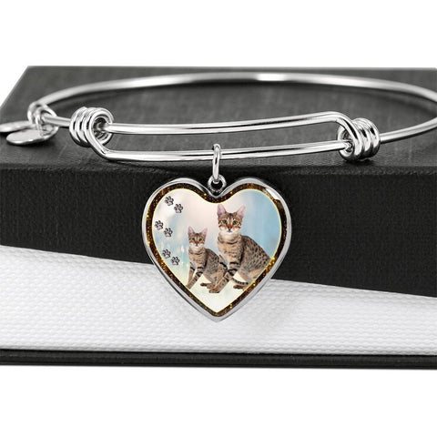 Savannah Cat Print Heart Pendant Bangle-Free Shipping
