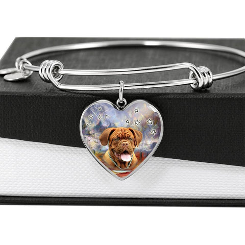 Dogue de Bordeaux Print Luxury Heart Charm Bangle-Free Shipping