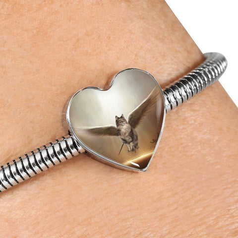 Norwegian Forest Cat Print Heart Charm Steel Bracelet-Free Shipping