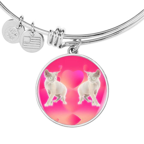 Devon Rex Cat Print Circle Pendant Luxury Bangle-Free Shipping