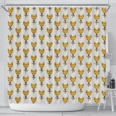 Shiba Inu Dog Pattern Print Shower Curtains-Free Shipping