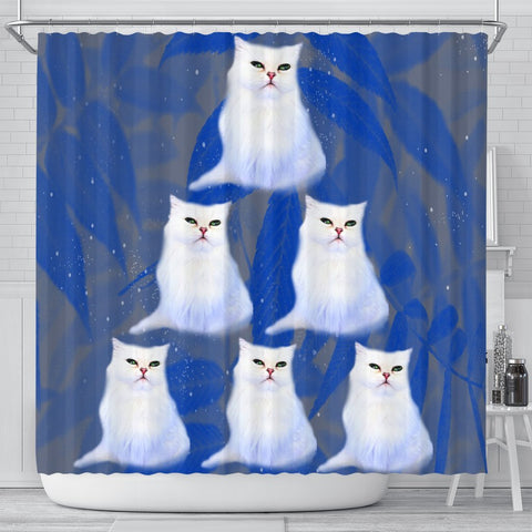White Persian Cat Print Shower Curtains-Free Shipping