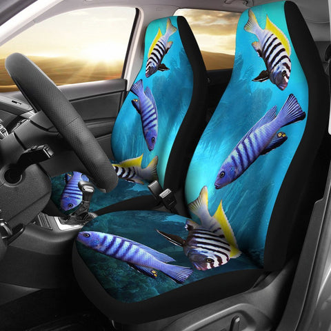 Cynotilapia Afra (Afra Cichlid) Fish Print Car Seat Covers- Free Shipping