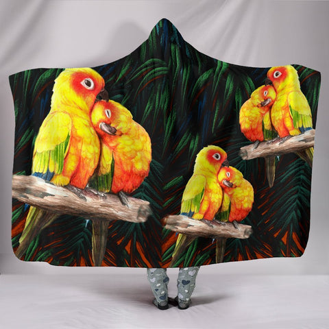 Sun Conure Parrot Print Hooded Blanket-Free Shipping