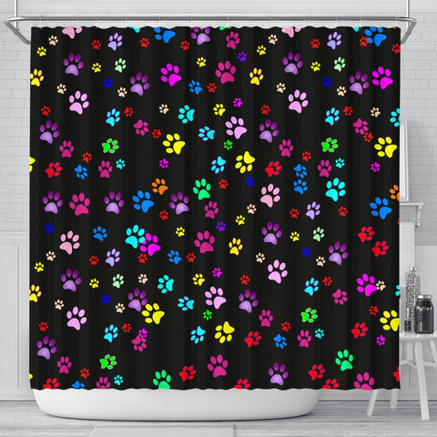 Colorful Dog Paws Print Shower Curtains-Free Shipping