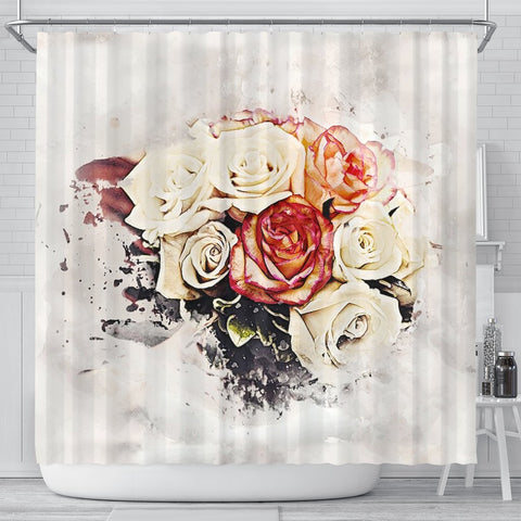 Rose Flower Color Art Print Shower Curtains-Free Shipping
