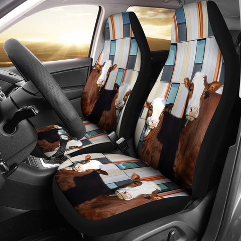 Simmental Cattle (Cow) Print Car Seat Cover-Free Shipping