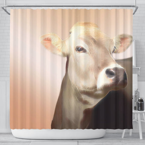 Cute Brown Swiss cattle (Cow) Print Shower Curtain-Free Shipping