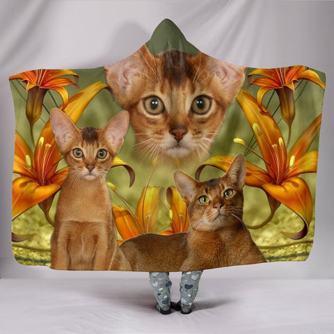 Cute Abyssinian Cat Print Hooded Blanket-Free Shipping