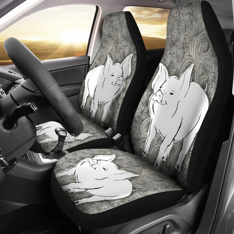 Middle White Pig Print Car Seat Covers-Free Shipping