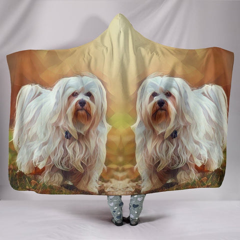 Havanese Dog Art Print Hooded Blanket-Free Shipping