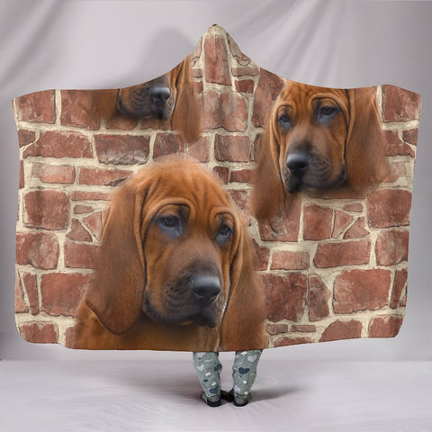 Redbone Coonhound Print Hooded Blanket-Free Shipping
