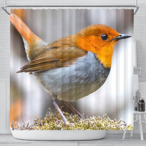 Japanese Robin Bird Print Shower Curtains-Free Shipping