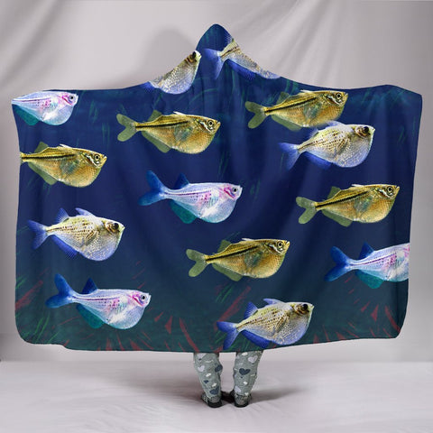 Common Hatchetfish Print Hooded Blanket-Free Shipping