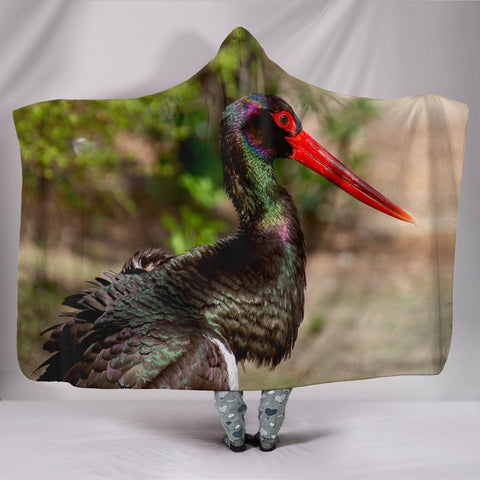 Black Stork Bird Print Hooded Blanket-Free Shipping
