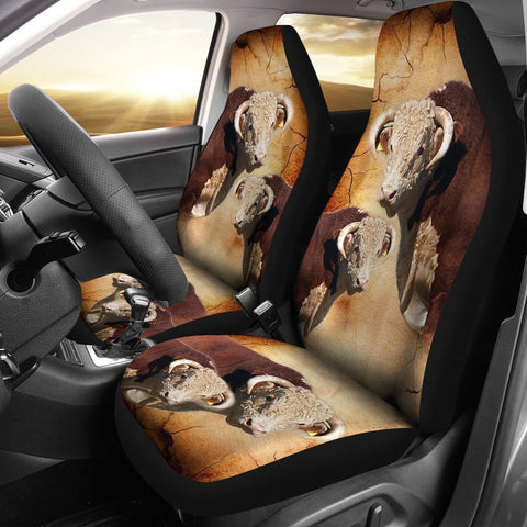 Hereford Bull Customized Print Car Seat Covers-Free Shipping