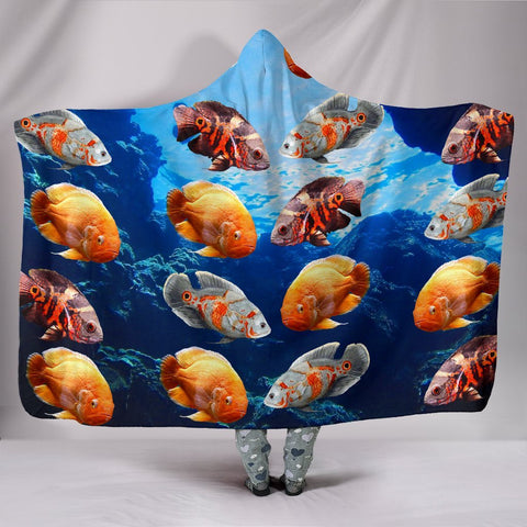 Oscar Fish Print Hooded Blanket-Free Shipping