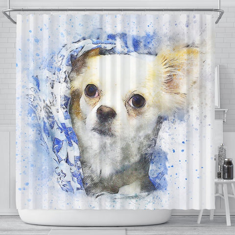 Chihuahua Dog Vintage Art Print Shower Curtains-Free Shipping